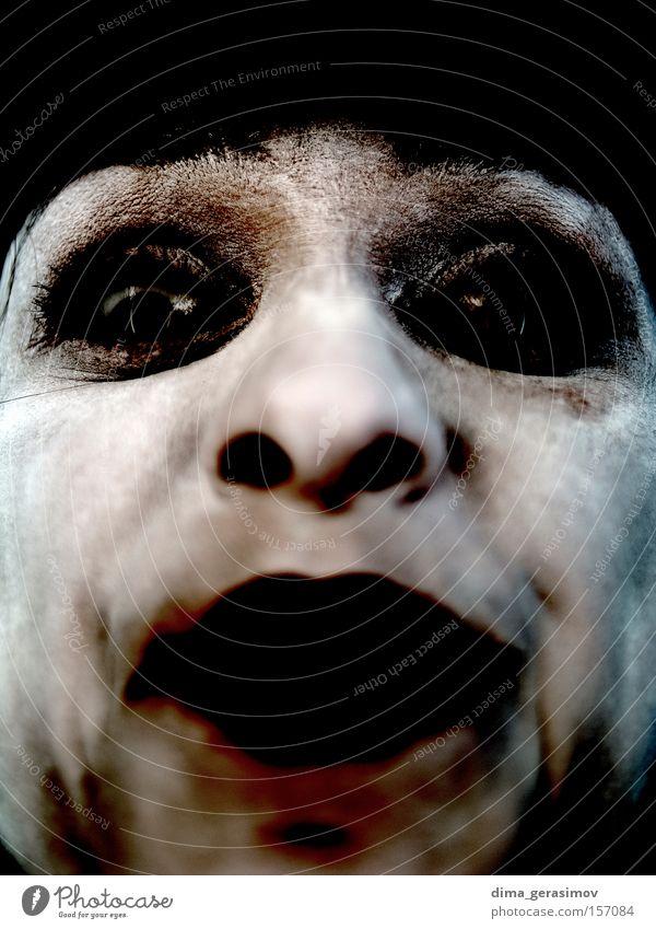 Angst Auge Nase Mund schwarz Terror Stil Frau alt gefährlich Aussehen