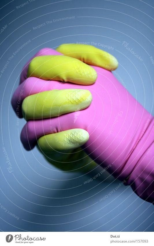 say a little prayer for me Dienstleistungsgewerbe Hand Finger 1 Mensch Handschuhe Reinigen gelb rosa Hoffnung Glaube Farbe Religion & Glaube einzigartig Wunsch