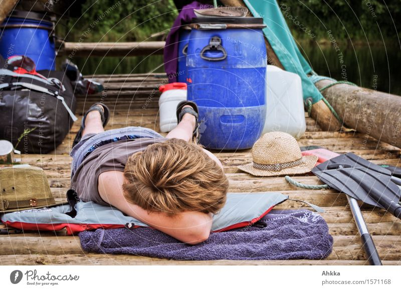 mal lang machen Mensch Ferien & Urlaub & Reisen Sommer Erholung ruhig Leben Junge träumen Kindheit genießen Ausflug Abenteuer schlafen Pause Gelassenheit