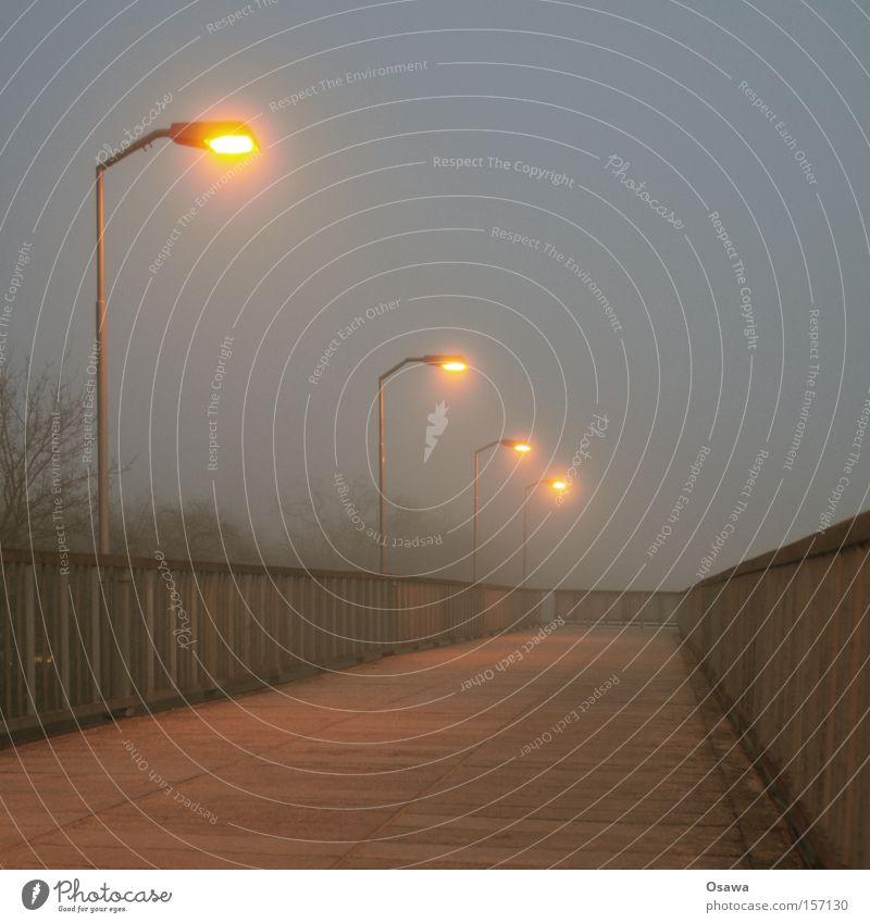 Karlshorst 3 Einsamkeit kalt Berlin grau Nebel leer Brücke Laterne Stahl Bahnhof Geländer Brückengeländer bedeckt S-Bahnhof