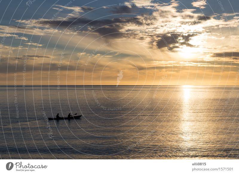 Kayak fahren bei Sonnenaufgang in Abel Tasman National Park Erholung Ferien & Urlaub & Reisen Tourismus Meer Sport Natur Himmel Wasserfahrzeug Aktion