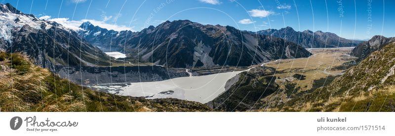 Hooker Valley und Geltschersee im Mount Cook Nationalpark Himmel Natur Ferien & Urlaub & Reisen Sommer Sonne Landschaft Wolken Ferne Berge u. Gebirge Schnee