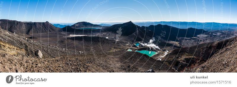 Tongariro Alpine Crossing Natur Landschaft Pflanze Urelemente Erde Sand Feuer Luft Wasser Himmel Wolkenloser Himmel Sonne Sommer Schönes Wetter Hügel Felsen