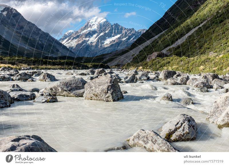Hooker Valley River Himmel Natur Ferien & Urlaub & Reisen Sommer Wasser weiß Landschaft Wolken Ferne Berge u. Gebirge Freiheit Stein Felsen Tourismus wandern