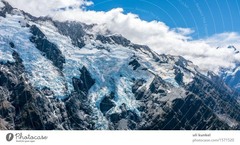 Mount Sefton Glacier Himmel Natur Ferien & Urlaub & Reisen blau Sommer Landschaft Wolken Ferne Berge u. Gebirge Schnee Freiheit Tourismus wandern Ausflug