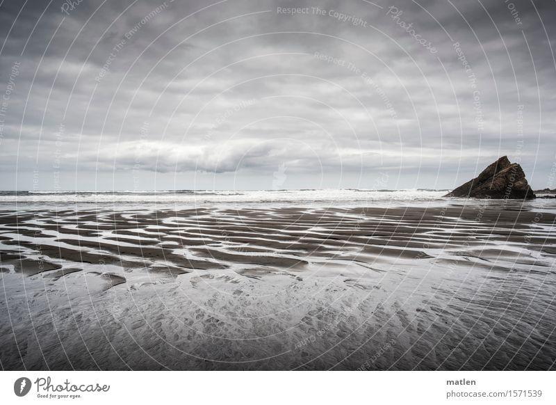 es gibt kein schlechtes Wetter Himmel Natur blau Wasser weiß Meer Landschaft Wolken Ferne Strand dunkel Küste braun Sand Felsen Horizont