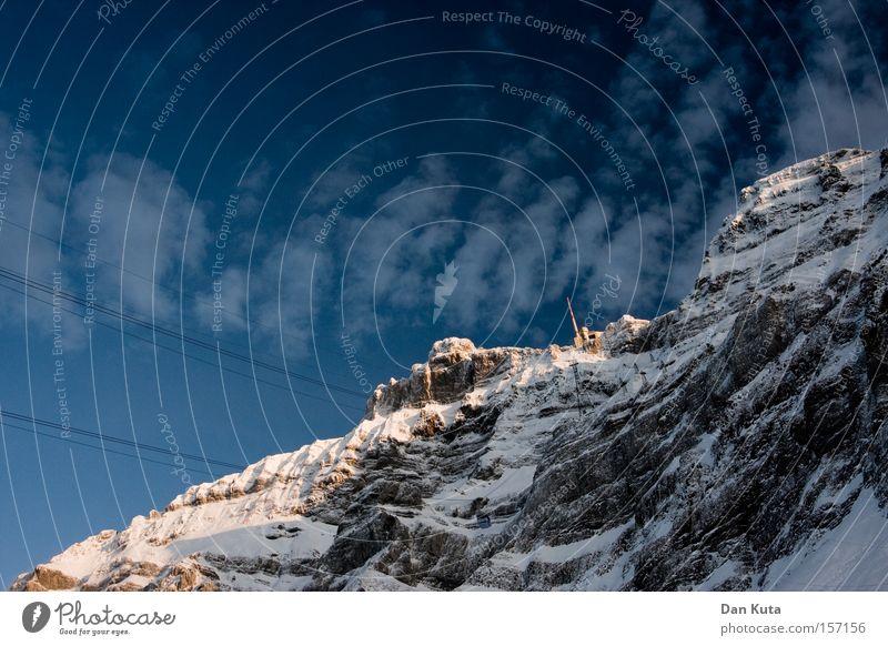 Aufstieg Berg Säntis Berge u. Gebirge Schweiz Klettern Bergsteigen kalt Frost genießen ruhig Frieden Klarheit Zufriedenheit Winter Schnee Eis