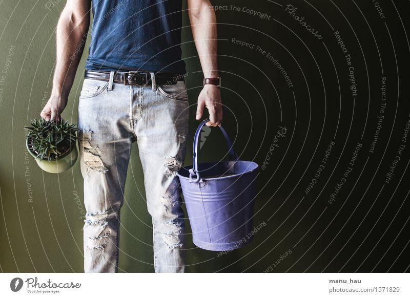 """""""modern gardener"""" Mensch Natur Jugendliche Mann Pflanze Freude 18-30 Jahre Erwachsene Umwelt Frühling Stil Lifestyle Arbeit & Erwerbstätigkeit maskulin Körper"""
