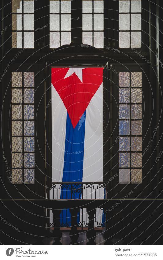 * Museum Havanna Kuba Hauptstadt Bauwerk Gebäude Fassade Fenster Tür Sehenswürdigkeit Denkmal Zeichen Fahne historisch blau braun rot weiß einzigartig Freiheit