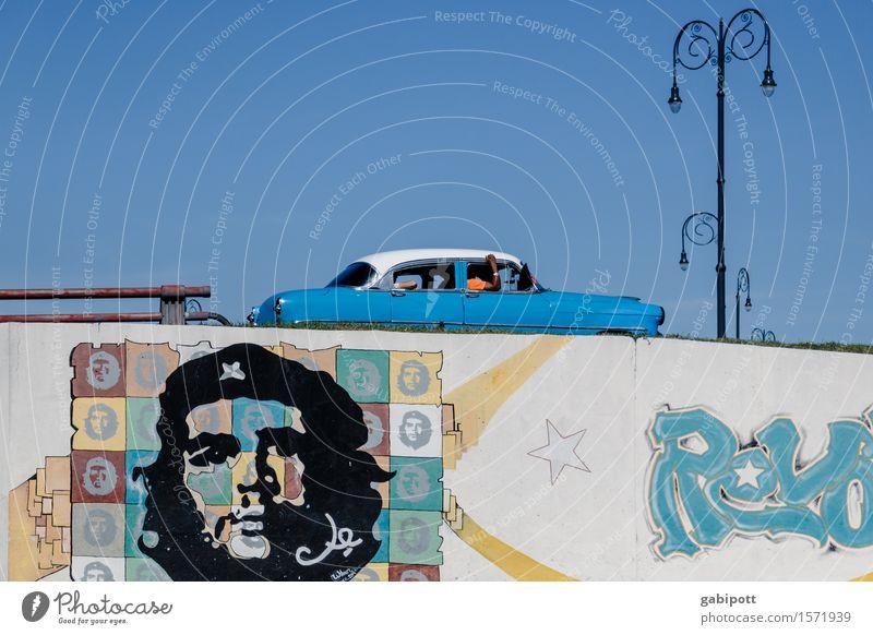 Havanna Ferien & Urlaub & Reisen Farbe Stadt Freude Straße Wand Graffiti Mauer Erde Fassade Zufriedenheit Schriftzeichen Geschwindigkeit Lebensfreude Brücke