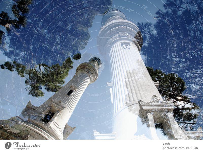 Turm auf F6 Himmel Schönes Wetter Pflanze Baum Pinie Rom Italien Stadt Hauptstadt Stadtzentrum Altstadt Säule Denkmal alt historisch blau Doppelbelichtung