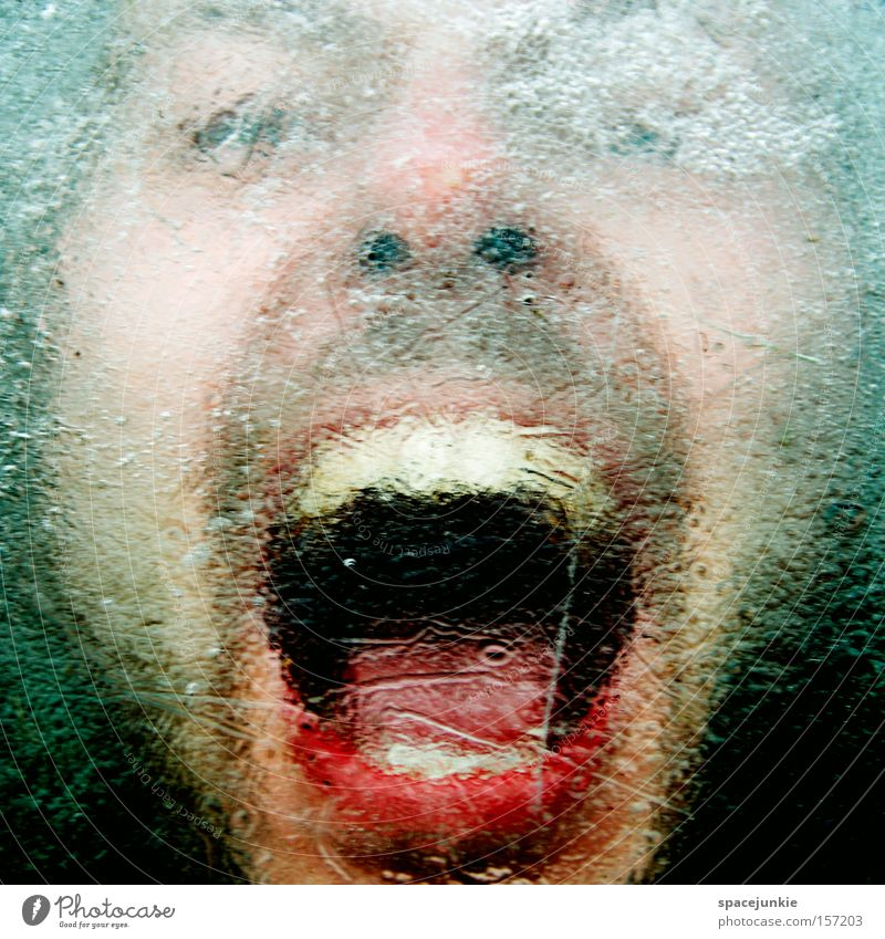 Scream Mann Freude kalt Eis verrückt schreien Gewalt eng skurril gefangen Seele eingeschlossen