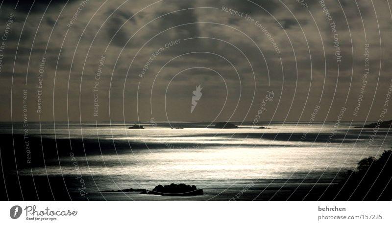 erleuchtet Himmel Meer Ferien & Urlaub & Reisen Wolken träumen Aussicht Mond genießen Licht Nacht erleuchten Fernweh Himmelskörper & Weltall Afrika Flitterwochen Seychellen