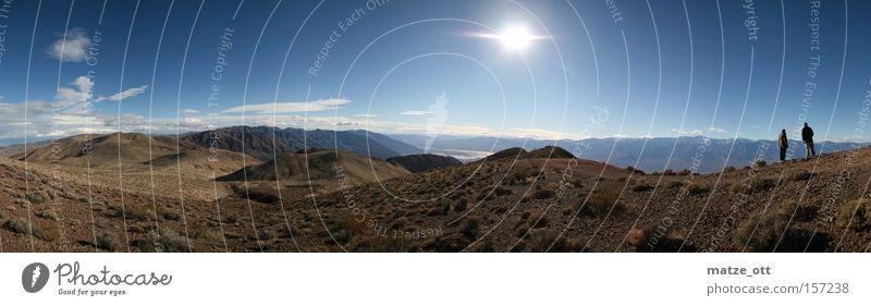 Death Valley Panorama Death Valley National Park Nevada USA Amerika Panorama (Aussicht) Sonne Himmel Berge u. Gebirge Skyline Natur Kalifornien Wolken