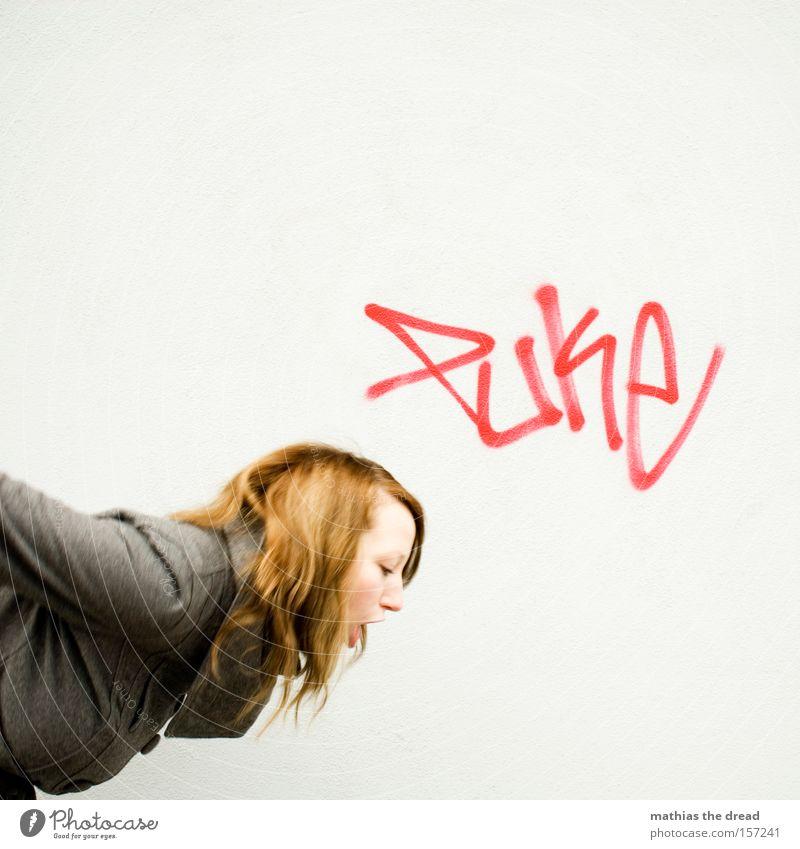 PUKE Frau schön Gesicht Graffiti grau Fassade Krankheit Putz schlecht Kunst Wandmalereien Erbrechen Übelkeit