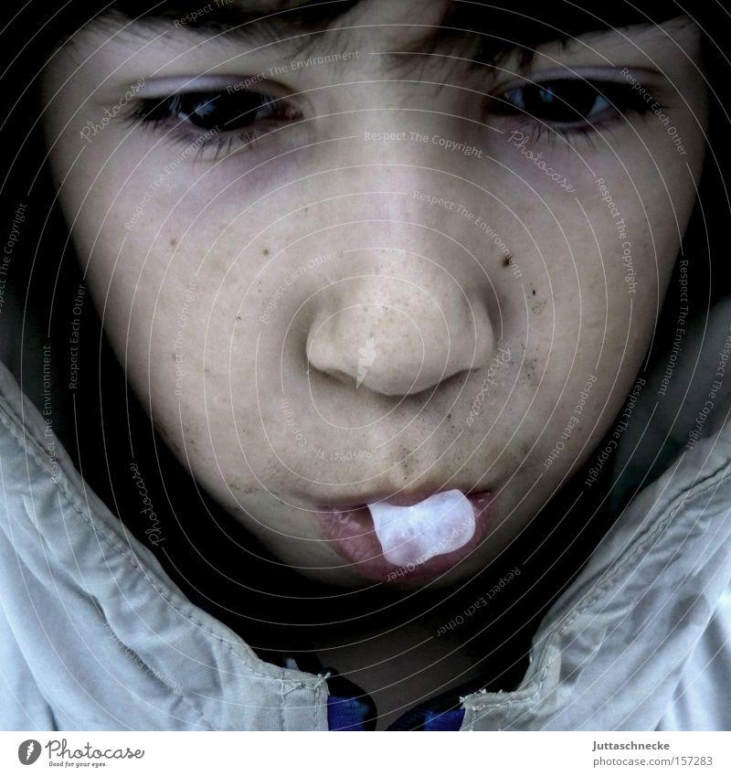 Kau den Gummi Kind Jugendliche Gesicht Ernährung Junge Kindheit Nase Zähne Blase Langeweile Zunge Zahnarzt Kaugummi