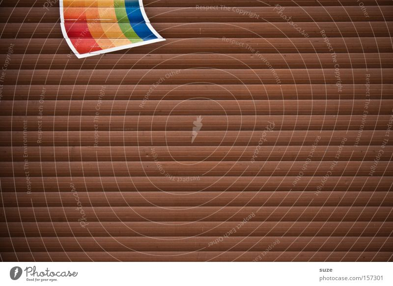 Regenbogenfahne Wand Holz braun Hintergrundbild Schilder & Markierungen Streifen Symbole & Metaphern Fahne Zeichen Tor Garage graphisch Strukturen & Formen