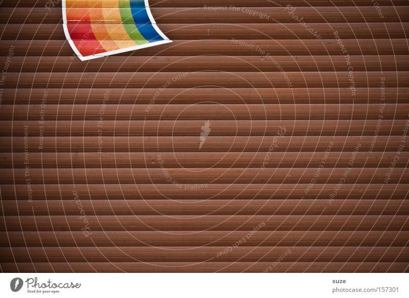 Regenbogenfahne Wand Holz braun Hintergrundbild Schilder & Markierungen Streifen Symbole & Metaphern Fahne Zeichen Tor Garage Regenbogen graphisch Strukturen & Formen Homosexualität Lamelle