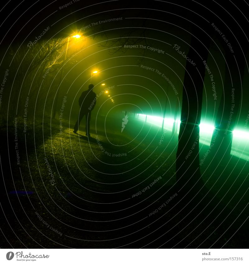 between lights Nacht Nebel dunkel Wege & Pfade Allee Laterne Licht Stimmung mystisch Scheinwerfer Autoscheinwerfer Langzeitbelichtung Mensch