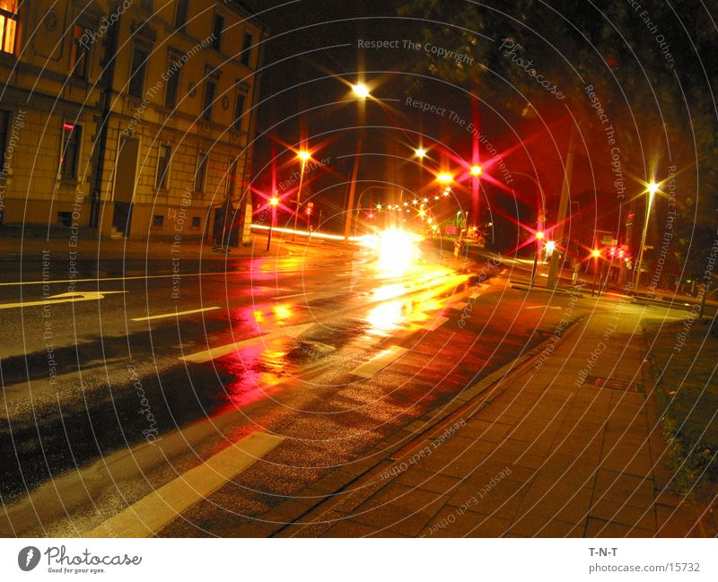 Kreuzung #3 Nacht Langzeitbelichtung Ampel Geschwindigkeit Straße Mischung