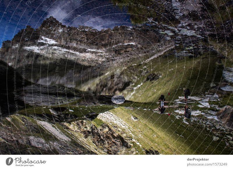 Spiegelung eines Berges in Savoien II Zentralperspektive Starke Tiefenschärfe Sonnenstrahlen Sonnenlicht Lichterscheinung Silhouette Kontrast Schatten Tag