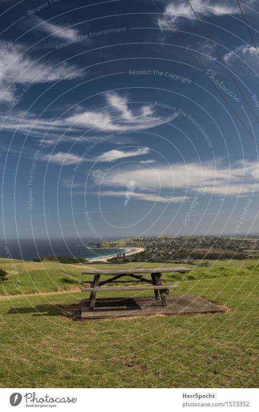 Rastplatz Ferien & Urlaub & Reisen Tourismus Ausflug Ferne Tisch Natur Landschaft Küste Strand Bucht Meer Pazifik Australien New South Wales Dorf schön Idylle