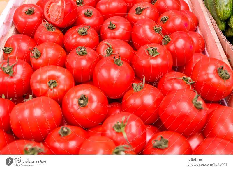 Hintergrund mit frischen roten Tomaten Gemüse Vegetarische Ernährung gelb Lebensmittel Gesundheit reif roh organisch Farbfoto