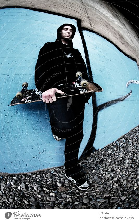 SK8ERBOY Mann blau Wand Sport Spielen grau Freizeit & Hobby Brücke Aktion Lifestyle Coolness Skateboarding Punk Hiphop Extremsport