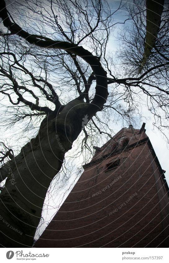Dongding im Turm Religion & Glaube Kirche Baum Kirchturm heilig Weitwinkel Gott bedrohlich Natur verrückt fantastisch irre Verzerrung Glocke Himmel Wolken