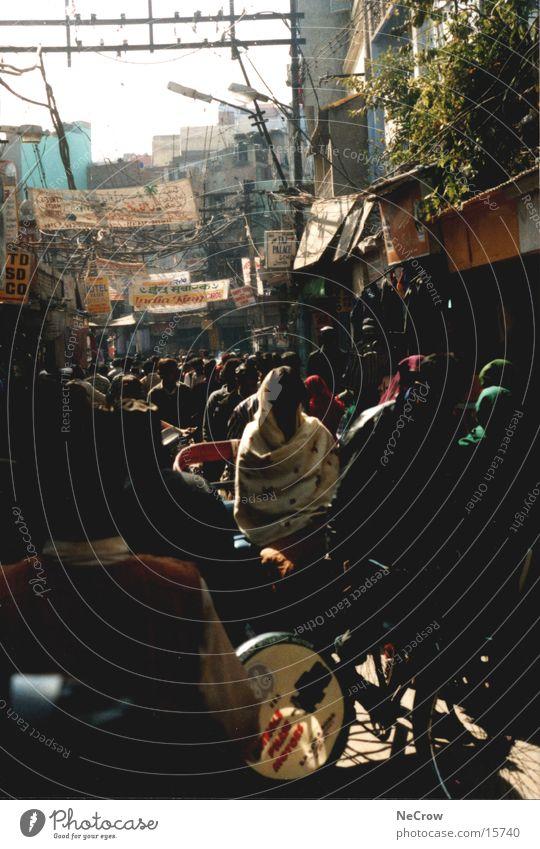 Innenstadt Menschengruppe Indien Stadtzentrum überfüllt Delhi