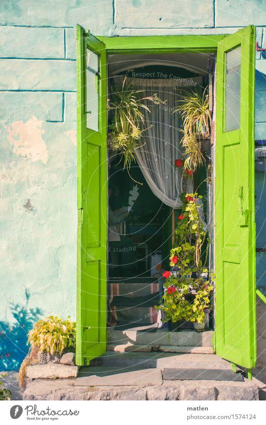 Spitzweg Mensch Stadt blau grün weiß rot Haus gelb Wand Mauer grau braun Fassade Treppe Tür Idylle