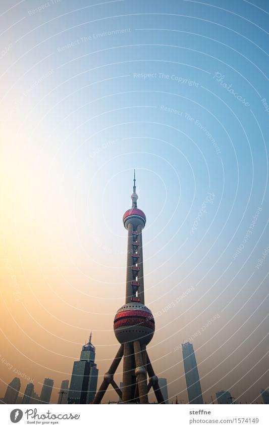 Rakete Sonnenaufgang Sonnenuntergang Sonnenlicht Schönes Wetter Shanghai China Stadtzentrum Skyline Hochhaus Wahrzeichen außergewöhnlich Fernsehturm
