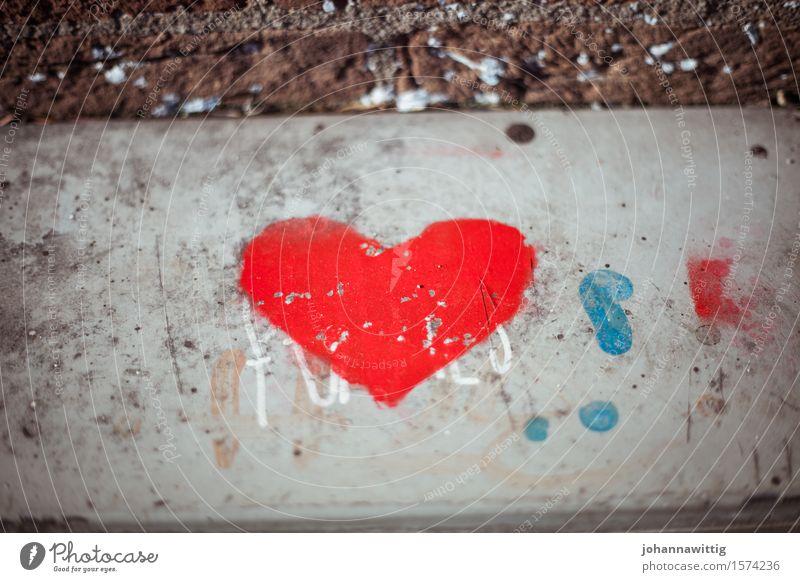 herzstadt. schön rot Straße Liebe Graffiti Wege & Pfade Mauer Kunst grau Stein wild Herz Geschenk Zeichen Freundlichkeit Hochzeit