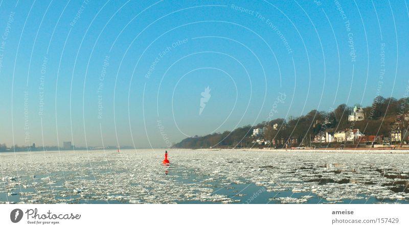 Willkommen in Neumühlen Hamburg Elbe Winter Eisscholle Schnee Boje Villa Strand Baum Wasser Blankenese Hafenfähre Hamburger Hafen Airbus Teufelsbrück