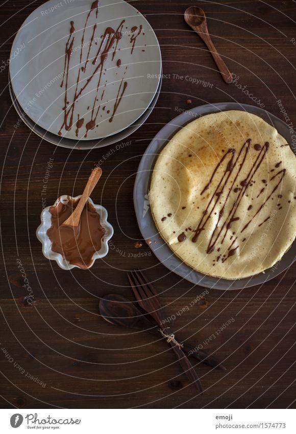 chocolate Dessert Süßwaren Schokolade Crêpe Ernährung Geschirr lecker süß Farbfoto Gedeckte Farben Innenaufnahme Menschenleer Tag Low Key