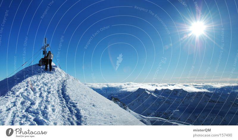 Gipfelstürmer - Lichtblick. Himmel Freude Winter Ferien & Urlaub & Reisen Arbeit & Erwerbstätigkeit Berge u. Gebirge Freiheit Religion & Glaube Horizont Zukunft