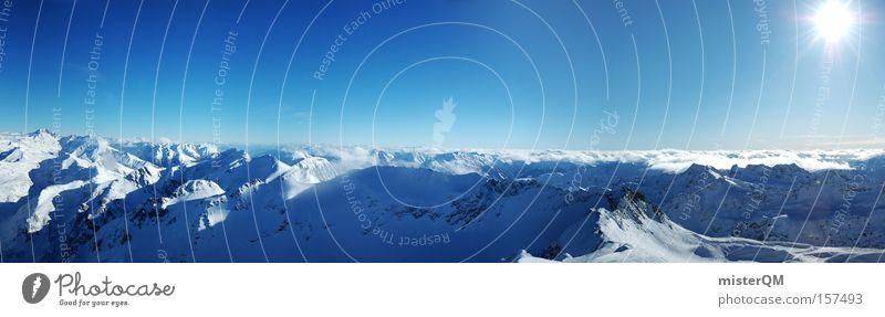 Am Ziel. Ferien & Urlaub & Reisen Winter Berge u. Gebirge Horizont groß Erfolg Zukunft Alpen Aussicht Gipfel Wissenschaften Panorama (Bildformat)