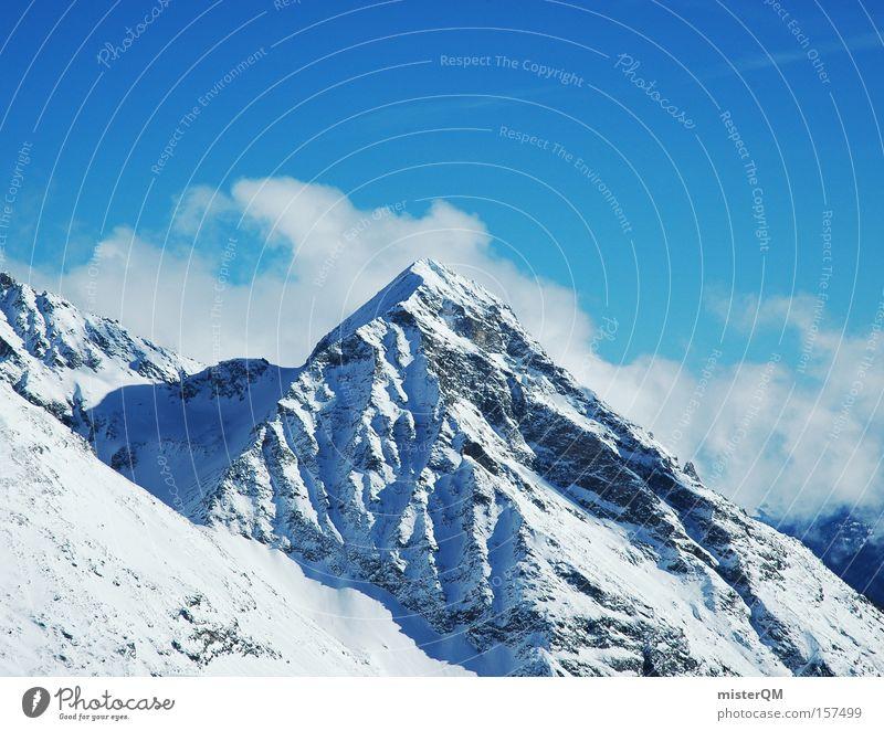 Hello, Mister Paramount. Himmel Natur blau Ferien & Urlaub & Reisen Winter Berge u. Gebirge hoch Ausflug Reisefotografie Ziel Alpen Aussicht Vertrauen Gipfel Alpen Alpen