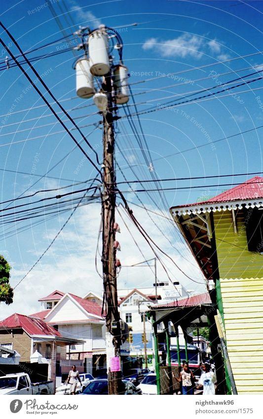 Kommunikation 01 Haus Elektrizität Strommast Kuba Leitung
