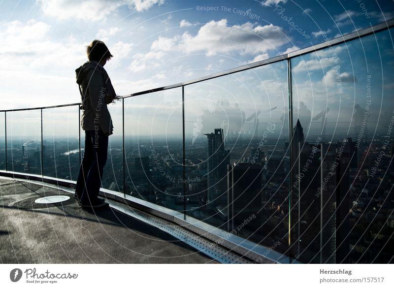 schöne Aussichten Himmel Stadt Wolken Luft Zufriedenheit fliegen frei Luftverkehr Sehnsucht Skyline Frankfurt am Main