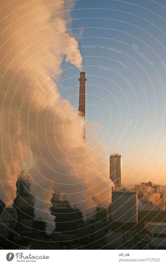 Abgas Umwelt hoch Klima Industrie Schönes Wetter Industriefotografie viele Fabrik ökologisch Schornstein Klimawandel Umweltverschmutzung Blauer Himmel