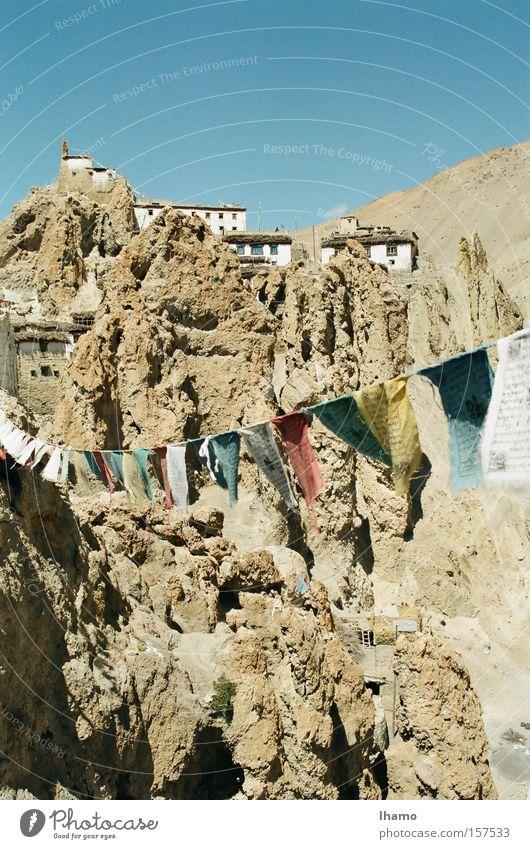 Verbunden Indien Buddhismus Gebetsfahnen abgelegen Berge u. Gebirge herzlich staubig Spaziergang wunderbar Spiti Valley Dankhar Home Stay Farbe
