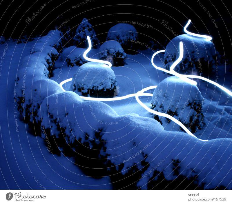 Fließend Winter blau Licht Schnee Nacht Linie Langzeitbelichtung Garten Park LAPP Lightpainting