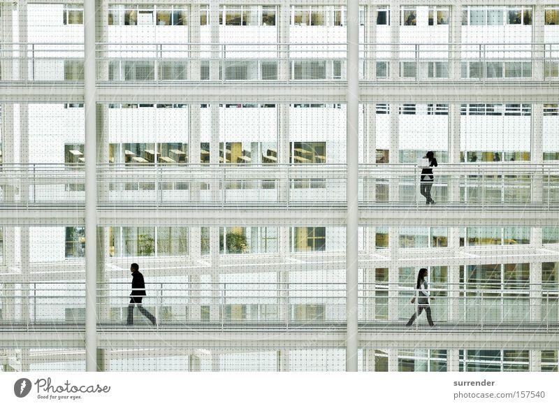 Gegensatz Mensch weiß Fenster laufen modern Zukunft Niveau Etage Säule Gegenteil Gitter