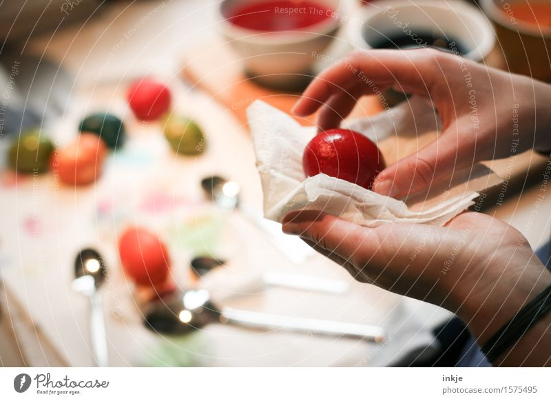 Eier färben 2 Lifestyle Freude Freizeit & Hobby Basteln Ostern Mädchen Junge Frau Jugendliche Kindheit Leben Hand 1 Mensch festhalten machen mehrfarbig rot
