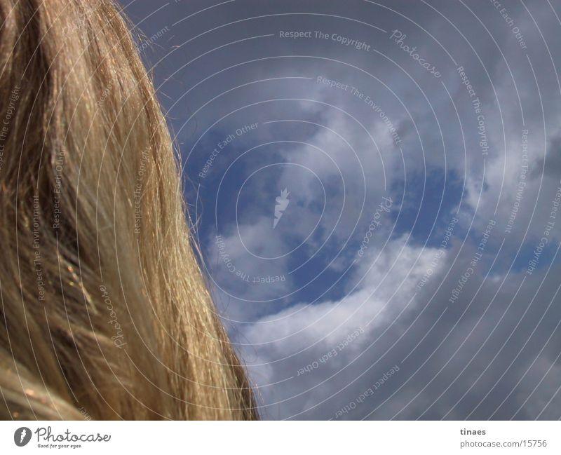 Himmel & Haare blond Wolken Licht Frau Haare & Frisuren blau light clouds blue hair sky