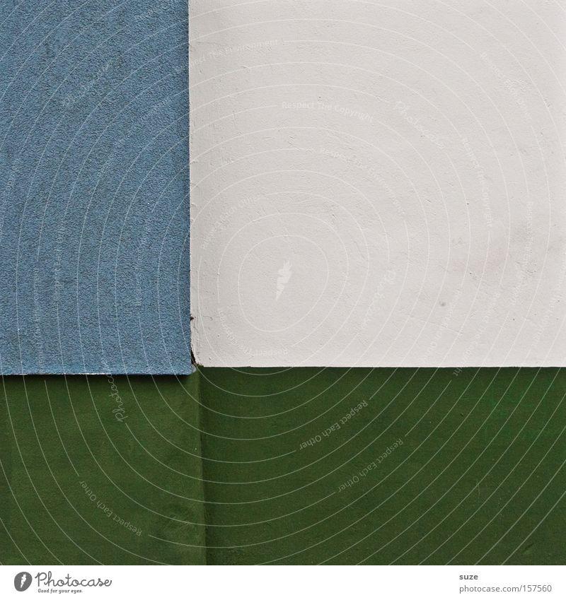 Viereck Stil Design Mauer Wand authentisch eckig einfach kalt modern blau grün weiß Putz Geometrie Goldener Schnitt Teilung graphisch Strukturen & Formen