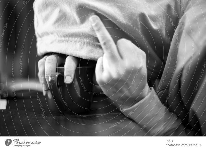 Morgens, halb zehn, in Deutschland. Mensch Frau Jugendliche Mann Hand Erwachsene Leben Gefühle Lifestyle Stimmung liegen Finger Wut Müdigkeit hängen machen