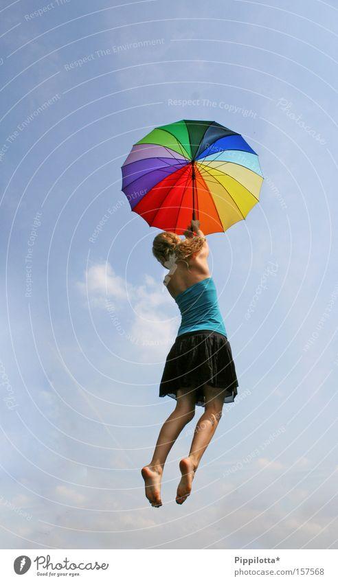 flying free mehrfarbig Freude Himmel oben unmöglich frei Sommer fliegen regenschrim