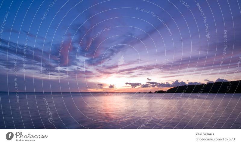 Wasser Himmel Meer blau Strand Wolken Sonnenuntergang orange Küste Horizont bleich Abenddämmerung purpur